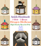 LARGE HEXAGON BIRDHOUSE - 3 Room Amish Handmade Weatherproof Recycled Poly ~ 6 Colors