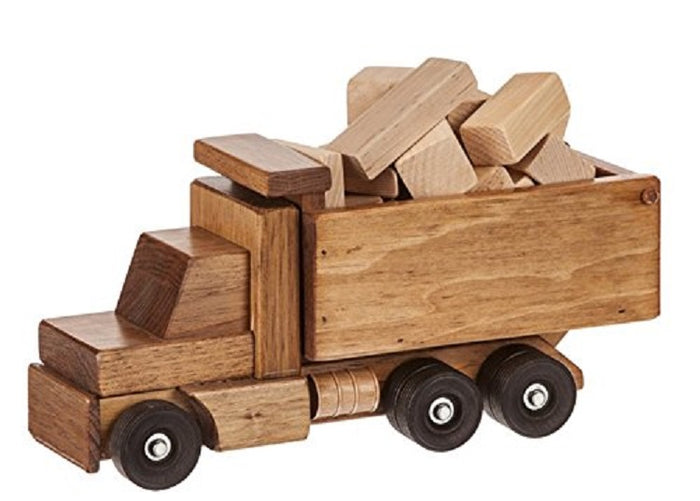DUMP TRUCK with Wooden Construction Building Blocks USA HANDMADE