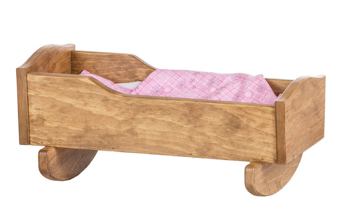 BABY DOLL ROCKING CRADLE BED - Amish Handmade Fine Play Furniture in 4 Finishes