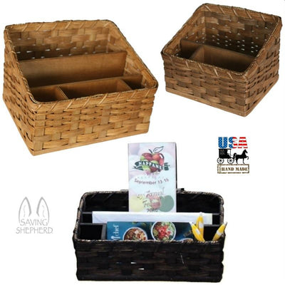 AMISH DESK ORGANIZER - Hand Woven Reed Basket in 2 Sizes & 13 Finishes USA