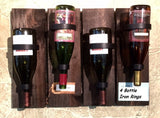 Amish Handmade Wine Rack Bottle Glass Wall Holder Display Gift