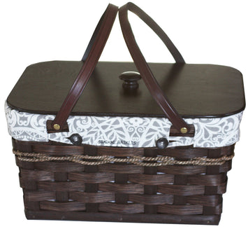 CARRY ALL BASKET & LID - Hand Woven with Saddle Leather Handles