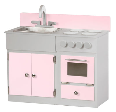 3pc CHILDREN'S KITCHEN PLAY SET - Sink Stove Oven Refrigerator & Hutch in 10 Finishes