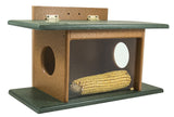 SQUIRREL HOUSE FEEDER - SEE THRU Wall Tree or Post Mount Recycled Poly USA