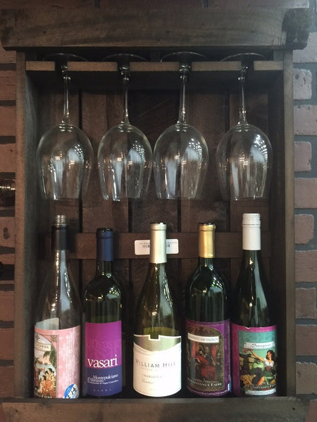 5 Wine Bottle Amp 4 Glass Shadowbox Handmade Wood Wall