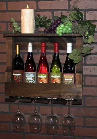 Amish Handmade Shadowbox Wine Rack Bottle Glass Holder