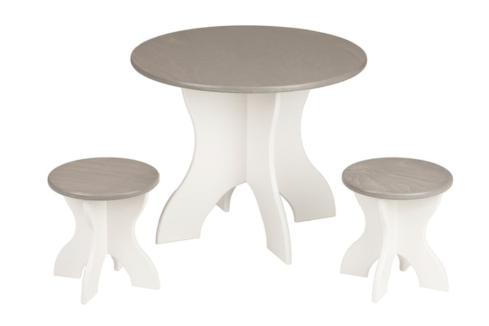 ROUND ACTIVITY TABLE & STOOLS - Solid Wood 3 Piece Set