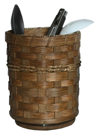 REVOLVING BASKET CADDY - Hand Woven Kitchen Desk Organizer in 2 Sizes & 13 Finishes USA