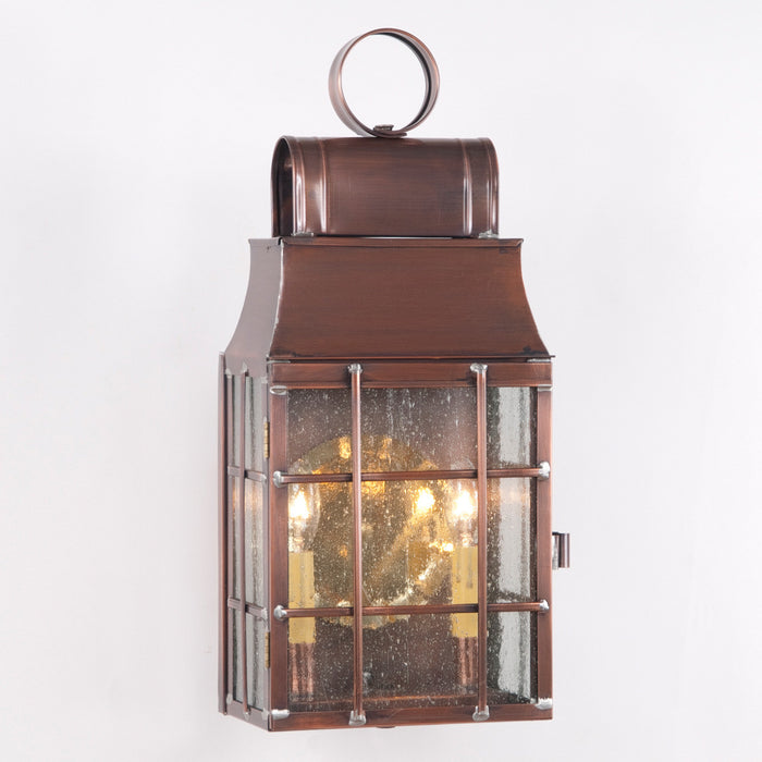 LANTERN WALL LIGHT Antique Copper with Seedy Glass Colonial Outdoor Lamp