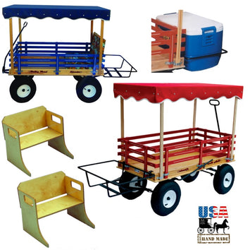 BEACH CANOPY WAGON - 2 Bench Seats & Cooler Rack USA