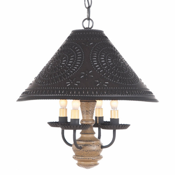 WOOD And PUNCHED TIN PENDANT LIGHT Country Ceiling Lamp