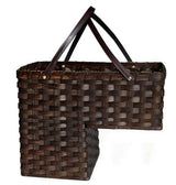 STAIR STEP BASKET - Amish Hand Woven with Saddle Leather Handles
