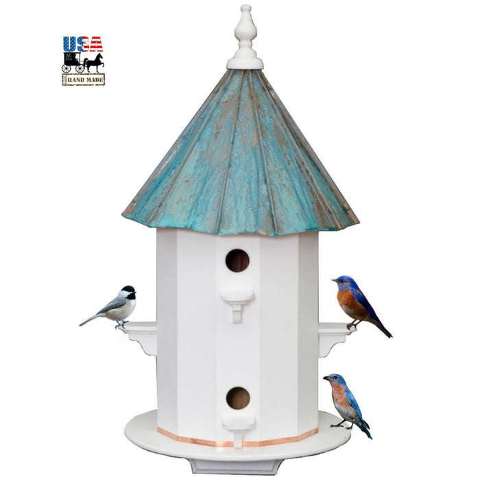 6 ROOM PATINA COPPER & VINYL BIRDHOUSE - Large 30