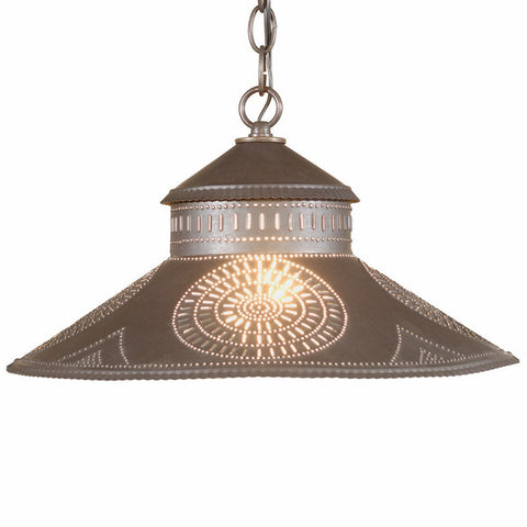 ... PUNCHED TIN PENDANT L& Colonial Chisel Pattern Hanging Light in Blackened or Rustic Tin  sc 1 st  Saving Shepherd & PUNCHED TIN PENDANT Lamp Colonial Chisel Pattern Hanging Light in ...