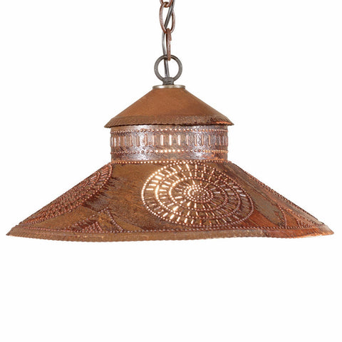 PUNCHED TIN PENDANT Lamp Colonial Chisel Pattern Hanging Light in Blackened or Rustic Tin