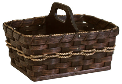 AMISH HANDY HELPER - Hand Woven Natural Reed Basket with Wood Divider Handle