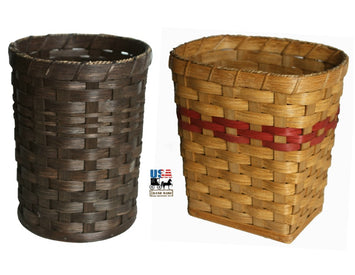 VANITY WASTEBASKET - Hand Woven Trash Basket - 2 Styles & 13 Finishes