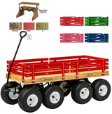 FULLY LOADED DOUBLE TANDEM WAGON - 3 Deluxe Maple Cushioned Benches All Terrain Tires