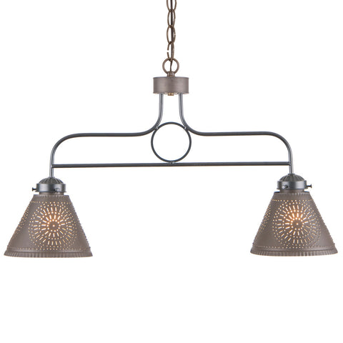 WROUGHT IRON BAR ISLAND LIGHT Handcrafted Hanging Fixture with Punched Tin Shades in 2 Finishes
