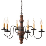 "LARGE ""GETTYSBURG"" COLONIAL CHANDELIER - 6 Heavily Distressed Farmhouse Finishes"