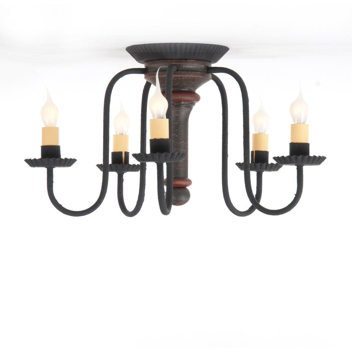 WROUGHT IRON & DISTRESSED WOOD CEILING LIGHT Handcrafted 5 Arm Fixture in Espresso Brown & Salem Brick Red