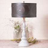 """DAVENPORT"" Table Lamp - Heavily Distressed & Crackled with Drum Shade"