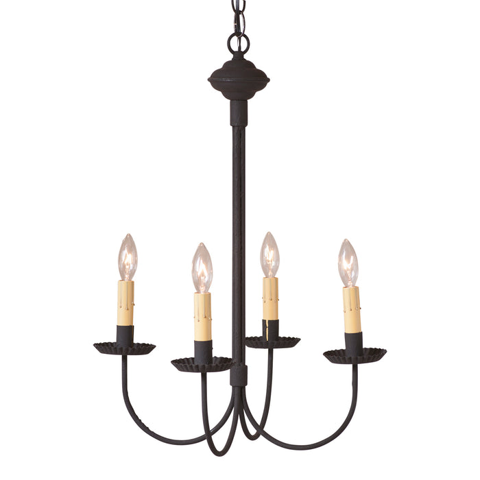 4 Arm GRANDVIEW CHANDELIER - Textured Black Candelabra USA Handcrafted