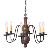 """CHESTERFIELD"" CHANDELIER - 6 Arm Woodspun Fixture in 5 Textured Finishes"