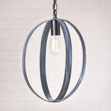 "16"" OVAL STRAP SPHERE PENDANT - Black Powder Coated Finish with White Wash"