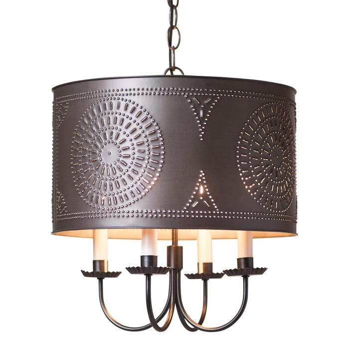DRUM CHANDELIER - Kettle Black Punched Tin Handcrafted Light