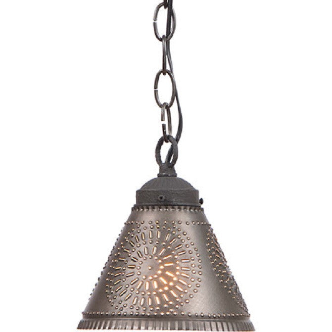 tin lighting. punched tin pendant shade light handcrafted chisel pattern hanging lamp in kettle black