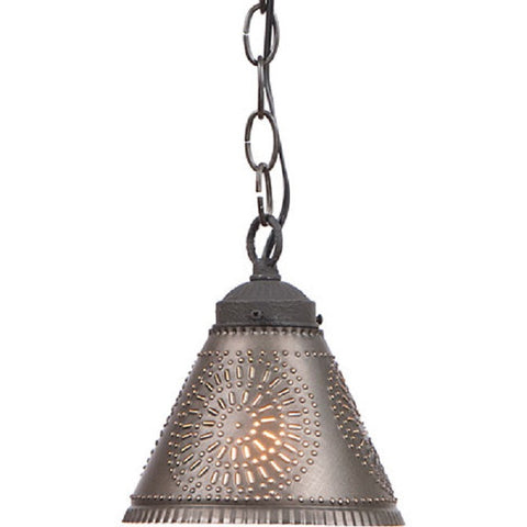 PUNCHED TIN PENDANT SHADE LIGHT Handcrafted Chisel Pattern Hanging Lamp in Kettle Black