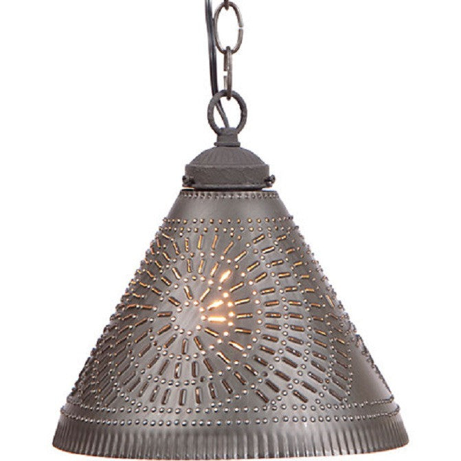 PUNCHED TIN PENDANT SHADE LIGHT Handcrafted Chisel Pattern Hanging Ceiling Lamp in Kettle Black