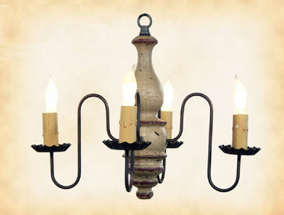 """ABIGAIL"" WOOD CHANDELIER - Handmade 4 Candle Colonial Light in 27 Finishes"