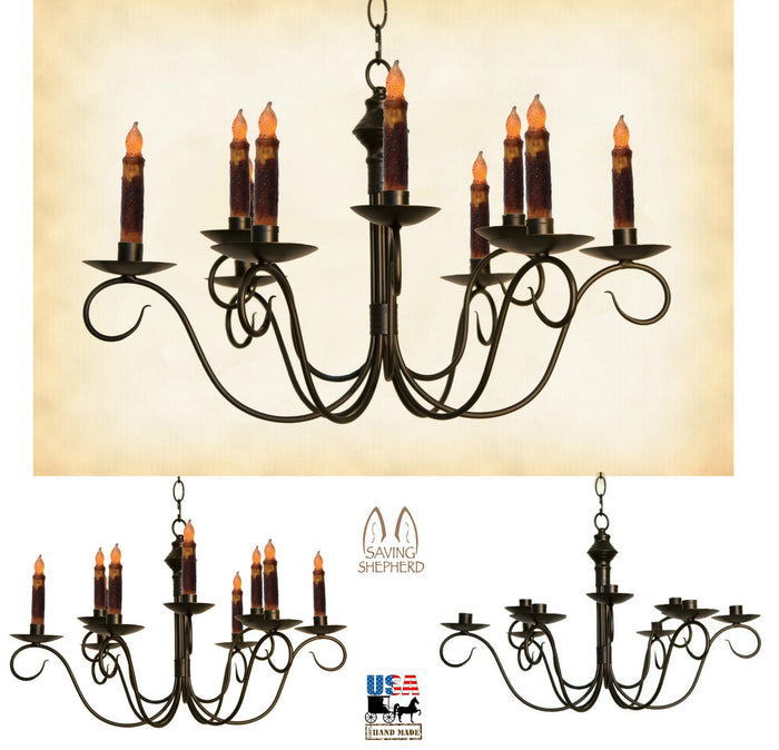 2-Tier COLONIAL METAL CANDLE CHANDELIER - Primitive