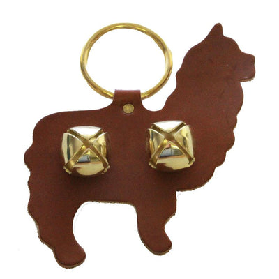 ALPACA DOOR CHIME - HANDCUT LEATHER with SLEIGH BELLS - Amish Handmade in USA