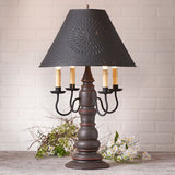 Large Bradford Table Lamp with Punched Tin Shade in 5 Distressed Finishes