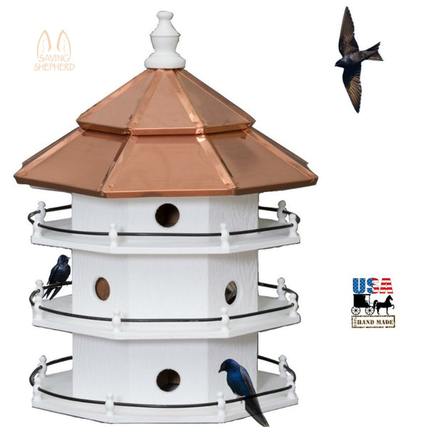 12 ROOM PURPLE MARTIN BIRDHOUSE - Large 3 Story Copper Roof Bird House