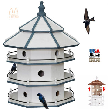 3-Story PURPLE MARTIN BIRDHOUSE - Large 12 Room Bird House Condo