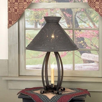 BETSY ROSS COLONIAL TABLE LAMP with Pierced Chisel Pattern Shade in Blackened Tin