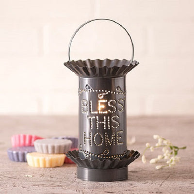 """BLESS THIS HOME"" PUNCHED TIN WAX TART WARMER Handmade Electric Accent Light"