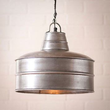 Retro Baker's Pendant - Brushed Antique Tin Finished Hanging Light