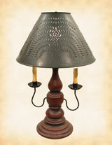 BARN RED & BLACK RUB LAMP - Wood & Wrought Iron with Punched Tin Willow Shade USA