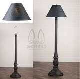 "WOODSPUN COLONIAL FLOOR LAMP ~ ""Americana Black"" Textured Finish with Punched Tin Shade"