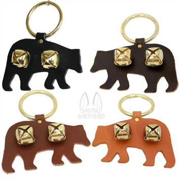 DOOR CHIME - LEATHER BEAR with JINGLE BELLS in 4 Colors - Amish Handmade in USA