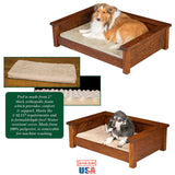 Amish Handmade LUXURY WOOD PET LOUNGE - Dog Furniture Bed in 3 Sizes