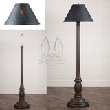 "WOODSPUN COLONIAL FLOOR LAMP ~ ""Espresso"" Textured Finish with Punched Tin Shade"