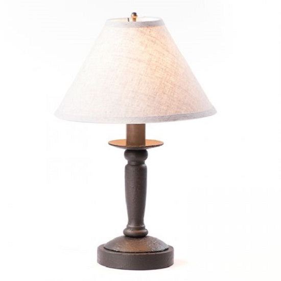 BUTCHER'S BEDSIDE TABLE LAMP with Ivory Shade - 5 Distressed Textured Finishes