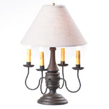 JAMESTOWN COLONIAL TABLE LAMP with Ivory Linen Shade - 5 Heavy Distressed Crackle Finishes