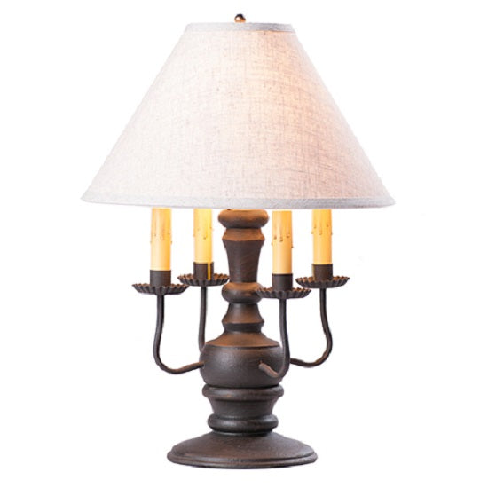 COLONIAL TABLE LAMP with Ivory Linen Fabric Shade in 7 Distressed Finishes